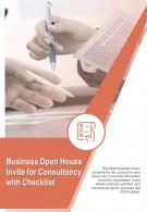 Bi Fold Business Open House Invite For Consultancy With Checklist Document Report PDF PPT Template