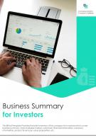 Bi Fold Business Summary For Investors Document Report PDF PPT Template