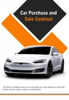 Bi Fold Car Purchase And Sale Contract Document Report PDF PPT Template