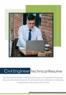 Bi Fold Civil Engineer Technical Resume Document Report PDF PPT Template One Pager