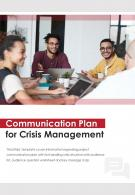 Bi Fold Communication Plan For Crisis Management Document Report PDF PPT Template