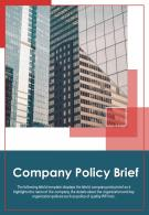 Bi Fold Company Policy Brief Document Report PDF PPT Template One Pager