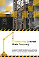 Bi Fold Construction Contract Summary Document Report PDF PPT Template One Pager