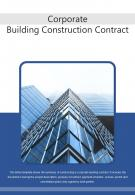 Bi Fold Corporate Building Construction Contract Document Report PDF PPT Template One Pager