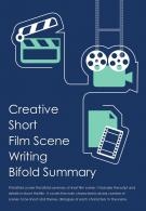 Bi Fold Creative Short Film Scene Writing Summary Document Report PDF PPT Template One Pager