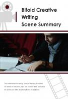 Bi Fold Creative Writing Scene Summary Document Report PDF PPT Template One Pager
