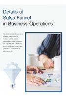 Bi Fold Details Of Sales Funnel In Business Operations Document PDF PPT Template One Pager