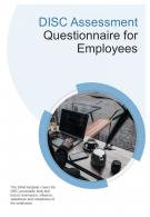 Bi Fold Disc Assessment Questionnaire For Employees Document Report PDF PPT Template One Pager