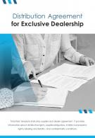 Bi Fold Distribution Agreement For Exclusive Dealership Document Report PDF PPT Template