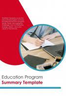 Bi Fold Education Program Summary Document Report PDF PPT Template