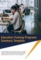 Bi Fold Education Training Programs Summary Document Report PDF PPT Template