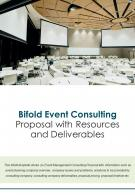 Bi Fold Event Consulting Proposal With Resources And Deliverables PDF PPT Template One Pager