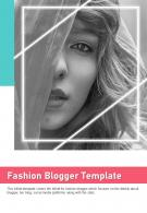 Bi Fold Fashion Blogger Template Document Report PDF PPT One Pager