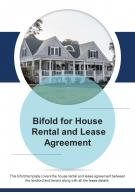 Bi Fold For House Rental And Lease Agreement Document Report PDF PPT Template One Pager