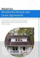 Bi Fold For Residential Rental And Lease Agreement Document Report PDF PPT Template One Pager