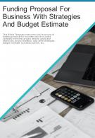 Bi Fold Funding Proposal For Business With Strategies And Budget Estimate Document Report PDF PPT Template