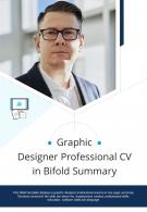 Bi Fold Graphic Designer Professional CV In Summary Document Report PDF PPT Template One Pager
