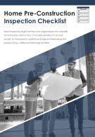 Bi Fold Home Pre Construction Inspection Checklist Document Report PDF PPT Template One Pager