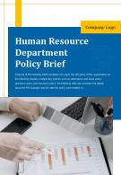 Bi Fold Human Resource Department Policy Brief Document Report PDF PPT Template One Pager