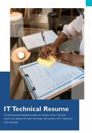 Bi Fold It Technical Resume Document Report PDF PPT Template One Pager