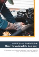 Bi Fold Lean Canvas Business Plan Model For Automobile Company Document Report PDF PPT Template One Pager