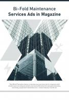 Bi Fold Maintenance Services Ads In Magazine Document Report PDF PPT Template
