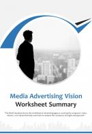 Bi Fold Media Advertising Vision Worksheet Summary Document Report PDF PPT Template One Pager