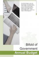 Bi Fold Of Government Annual Budget Document Report PDF PPT Template