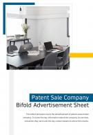 Bi Fold Patent Sale Company Advertisement Sheet Document Report PDF PPT Template One Pager