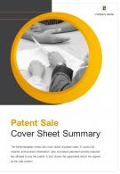 Bi Fold Patent Sale Cover Sheet Summary Document Report PDF PPT Template One Pager