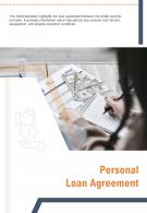 Bi Fold Personal Loan Agreement Document Report PDF PPT Template One Pager