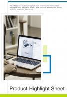 Bi Fold Product Highlight Sheet Document Report PDF PPT Template