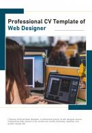 Bi Fold Professional CV Template Of Web Designer Document Report PDF PPT One Pager