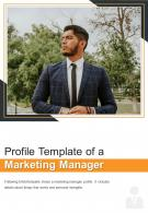 Bi Fold Profile Template Of A Marketing Manager Document PDF PPT One Pager