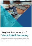 Bi Fold Project Statement Of Work Summary Document Report PDF PPT Template One Pager
