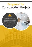Bi Fold Proposal For Construction Project Document Report PDF PPT Template