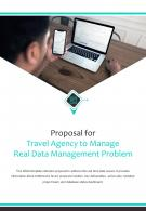 Bi Fold Proposal For Travel Agency To Manage Real Data Management Problem PDF PPT Template One Pager