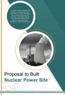 Bi Fold Proposal To Built Nuclear Power Site Document Report PDF PPT Template One Pager
