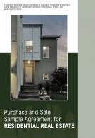 Bi Fold Purchase And Sale Sample Agreement For Residential Real Estate Document Report PDF PPT Template