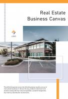 Bi Fold Real Estate Business Canvas Document Report PDF PPT Template One Pager