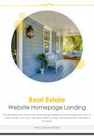 Bi Fold Real Estate Website Homepage Landing Document Report PDF PPT Template One Pager