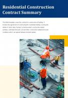 Bi Fold Residential Construction Contract Summary Document Report PDF PPT Template One Pager