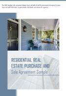 Bi Fold Residential Real Estate Purchase And Sale Agreement Sample Document Report PDF PPT Template