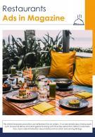 Bi Fold Restaurants Ads In Magazine Document Report PDF PPT Template