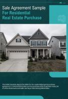 Bi Fold Sale Agreement Sample For Residential Real Estate Purchase Document Report PDF PPT Template