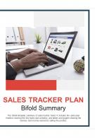 Bi Fold Sales Tracker Plan Summary Document Report PDF PPT Template One Pager
