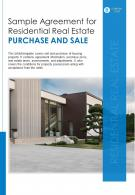 Bi Fold Sample Agreement For Residential Real Estate Purchase And Sale Document Report PDF PPT Template