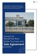 Bi Fold Sample For Residential Real Estate Purchase And Sale Agreement Document Report PDF PPT Template