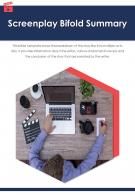 Bi Fold Screenplay Summary Document Report PDF PPT Template One Pager