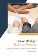 Bi Fold Senior Manager Technical Resume Document Report PDF PPT Template One Pager
